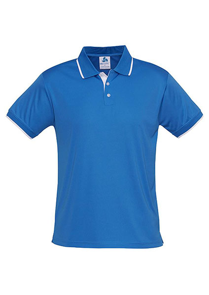 P402ls miami mens polo process blue white work smart for Embroidered polo shirts miami