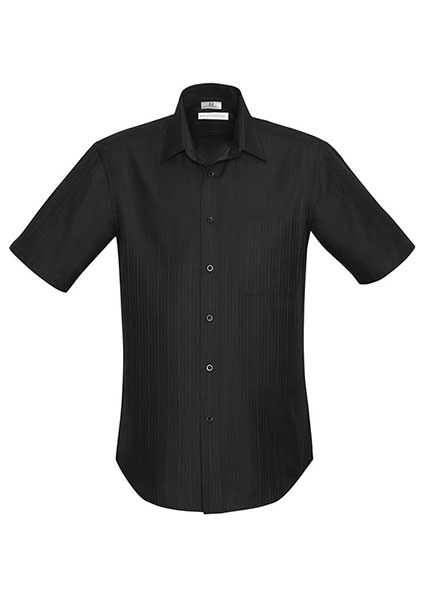S312ms preston mens ss shirt black work smart uniforms for Mens black shirts online