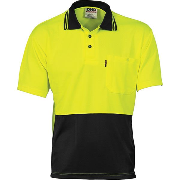 Dnc hivis two tone cool breathe polo shirt short sleeve for Hi vis polo shirts with pocket