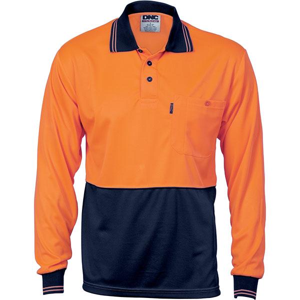 Dnc hivis two tone cool breathe polo shirt l s 3813 for Work uniform polo shirts