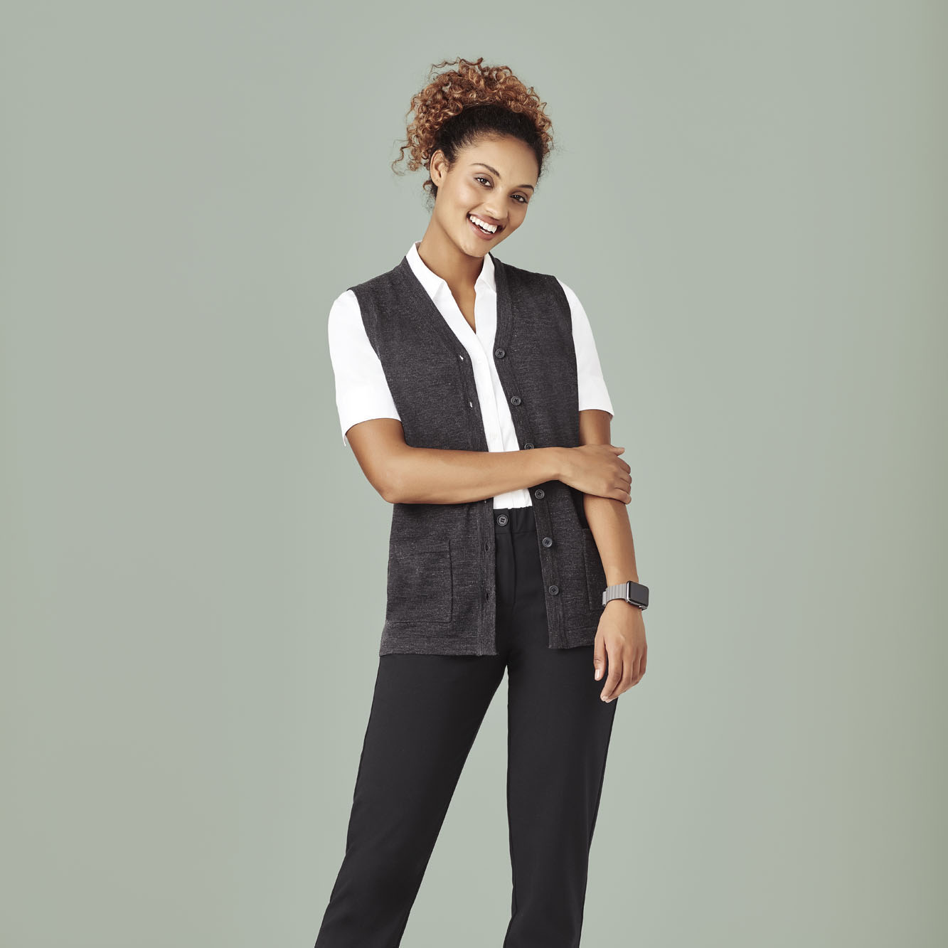 NEW Womens Button Front Vest - CK961LV