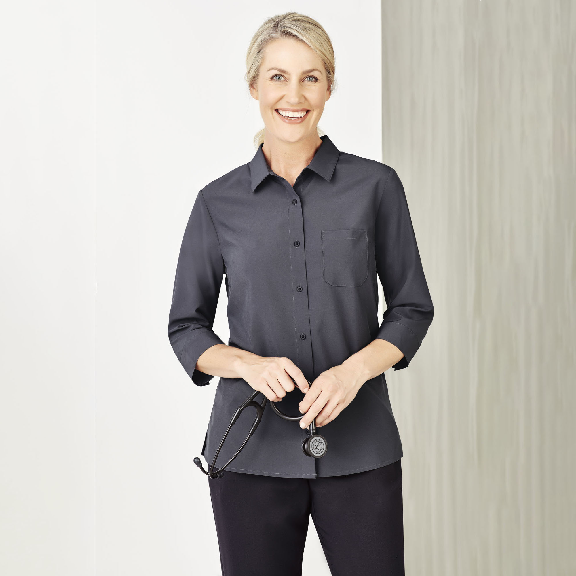 NEW Womens Plain 3/4 Sleeve Shirt - CS951LT