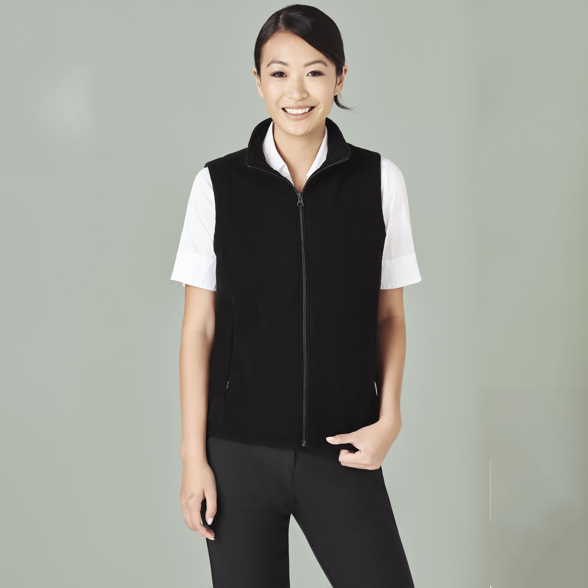 LADIES PLAIN MICRO FLEECE VEST - PF905